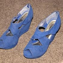 Size 7 Regular Rampage Royal Blue Wedges Brand New Without 4.5