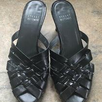 Size 7m Stuart Weitzman Black Woven Leather Studded Platform Mule Sandals Photo