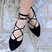 Size 8.5 Jeffrey Campbell Black Suede Lace Up Ballet Flats Nasty Gal Sexy Hot Photo