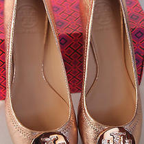 Size 8 Nwb Tory Burch Reva Ballet Flat Leather Rose Gold Vulcano Goat 41148001 Photo