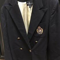 Size 8 Ralph Lauren Navy Wool Blazer Suit Jacket Gold Crest Crown Womens Photo
