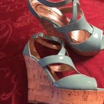 Size 8 Women's Sandals Light Teal With Cork Platform Wedge Photo