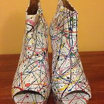 Size 9.5 Jeffrey Campbell White Paint Splatter Heel Photo