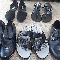 Size 9 Lot of 5 Mix Black Leather Flats Shoes by Dolce Vita Bcbg Steve Madden & Photo