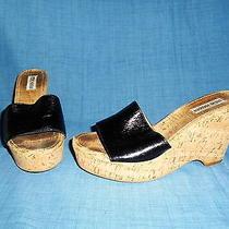 Size 9 - Steve Madden - Black Cork Wedge - Women's Sandals Platform Leather Photo