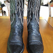 Size 9b Women's Black Leather/ White Stitched Lucchese Cowboy Boots...like New  Photo