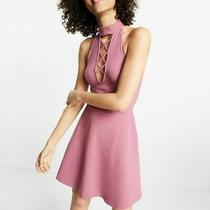 Size L Express Lace-Up Mock Neck Fit and Flare Dress Photo