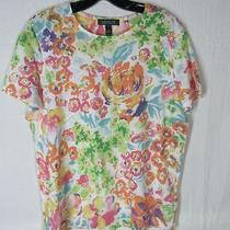 Size L Ralph Lauren Top T Shirt Cotton Tee Bright Colors Flowers Photo