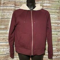 Size L Tall  Womens Gap Jacket Zip Up Maroon Hoodie Sherpa Lined Photo