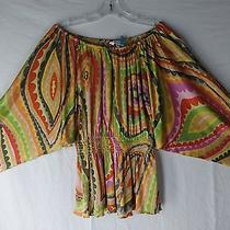 Size L Trina Turk Bright Colors Angel Wing Silk Top Peasant Slouch Off Shoulder Photo