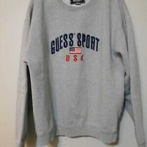 Size Large Men's Long Sleeve Gray Guess Sports Sweatshirt Comfortable Mens Shirt Photo
