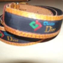 Size M 36 Christian Dior Leather and Name Designer Fabric Belt Vintage Photo