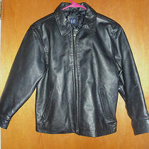 Size M Gap Zip Up Riding Motorcycle Black Leather Coat Jacket Photo