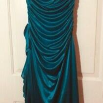 Size Medium Xoxo Dress Solid Green Teal Strapless Sheen Ruched Knit Ruffle Photo