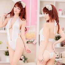 Size S to M Sexy Lingerie Erotic Fantasy Wear Bikini Big Deep v Teddy H250 White Photo