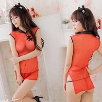 Size S to M Sexy Lingerie Erotic Fantasy Wear Sheer Cheonsam  G-String H656 Red Photo