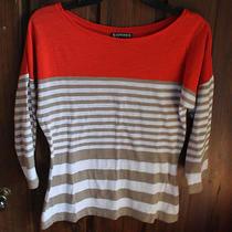 Size Small Express Orange Tan White Knit Top 3/4 Length Sleeve Photo