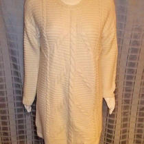 Size Xl Gap Creamy White Ribbed Long Sleeve Sweater Dress Chest 54