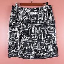 Sk06798- New Grace Elements Woman 100% Silk Pencil Skirt Black White Artwork 12p Photo