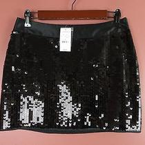 Sk07946- Nwt Express Woman Polyester Fully Sequined Mini Skirt Black Sz 0 88 Photo