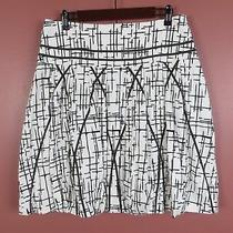 Sk13216- New Grace Elements Womens 97% Cotton Pleated Skirt Black White Geo 12 Photo