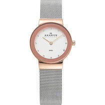 Skagen Rose Gold Tone Steel Watch - Silver With Rose Photo