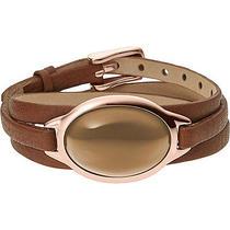 Skagen Sea Glass Rose Gold-Tone Leather Wrap Bracelet Jewelry New Photo
