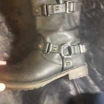 Skechers Asap in Black Faux Leather Moto Boots W/ Buckles & Studs Size 8 Black Photo