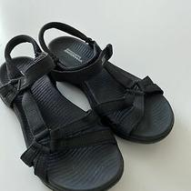 Skechers Black/gray Goga Max Sandals Womens Size 6 Slip Ons Slides Pre Owned Photo