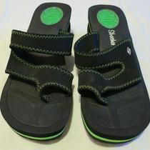 Skechers Black Strappy Wedge Heel Toe Loop Sandals Flip Flops Womens  8 Photo