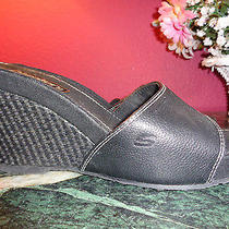 Skechers Black  Wedge Mules With White Stitching 6.5m Pristine Condition Photo