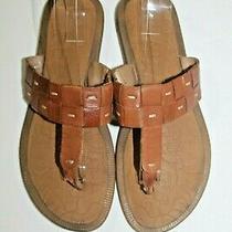 Skechers Brown Leather Woven Luxe Foam Thong Flip Flops Women's Sandals Size 8 Photo