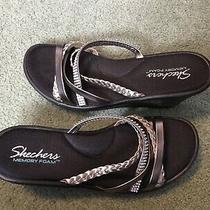 Skechers Dressy Wedge Sandals Black Gold Silver 9 Photo