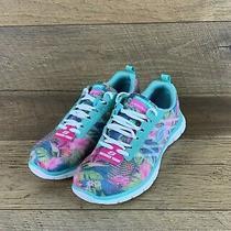 Skechers Flex Appeal Foral Bloom Lightweight Lace Up Shoe Women's Size 7.5 Us  Photo