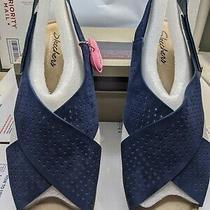 Skechers Petite Parallel Plot 41192 Navy Slingback Wedge Sandal Womens Sz 12 Nwb Photo