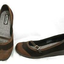 Skechers Sassies Mary Jane Wedge Heel Shoes 46627 Nubuck Leather Brown Women 8.5 Photo