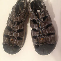 Skechers Size 1 Boys Sandals Shoes Brown/black Like New Photo