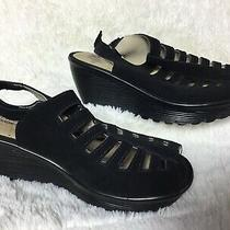 Skechers Size 6 Black Peep Toe Sling Back Wedge Sandals    J99 Photo