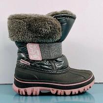 Skechers Skech-Tex Girls Size 8 Gray Pink Fur Glitter Thinsulate Rain Snow Boots Photo