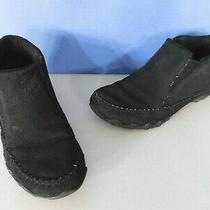 Skechers Suede Leather Ankle Boots Black Color Memory Foam Woman's Size 8 M Photo