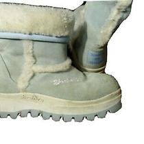 Skechers Sueded Winter Snow Boots Girls 4 Blue Insulate Fur Lining Leather Upper Photo