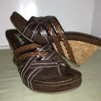 Skechers Sz 7 Womens  Brown  Wedge Cork Slides  Sandals Ws6-19-15 Photo