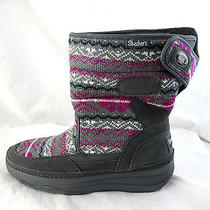 Skechers Tone Ups Womens Ladies Sweater Boots Sz 10m Grey Pink Black Leather  Photo