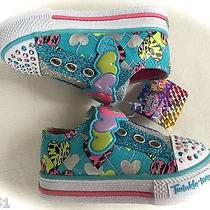 Skechers Twinkle Toes Slide Step Light-Up Sneakers Tod Sz 5 Turquoise  Nib Photo