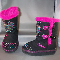 Skechers Twinkle Toes Toddler Girls Boots Size 7 Black/multi Light Up Euc Photo