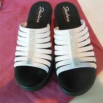Skechers White Rumblers Hotshot Memory Foam Sandals Wedge Shoes 10m -- New Photo