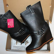 Skechers Women's Cheeky-High Rider Wedge Lether Boots Black 9 Photo