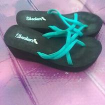 Skechers Women's Sandals Black Wedge S Memory Form Sz 8.5 Photo