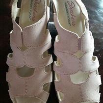 Skechers Women Stylin Suede Peep-Toe Slingback Wedge Sandals Blush Size 9 Photo