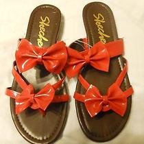 Skechers Womens Flip Flops Shoes Size 6 Red Sandals Bows Photo